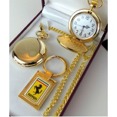 Ferrari Gold Plated Pocket Watch and Keyring